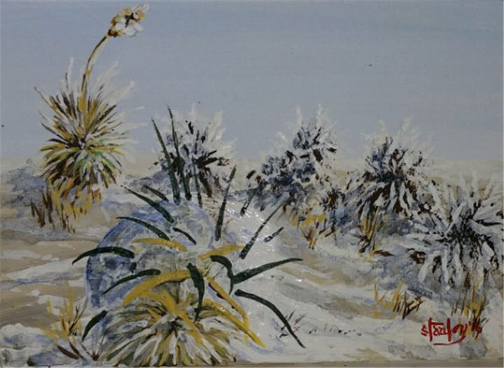 Mojave Snowman - Southwestern Paintings by David