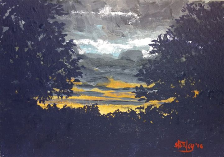 Sunset in my Hill Country - Southwestern Paintings by David