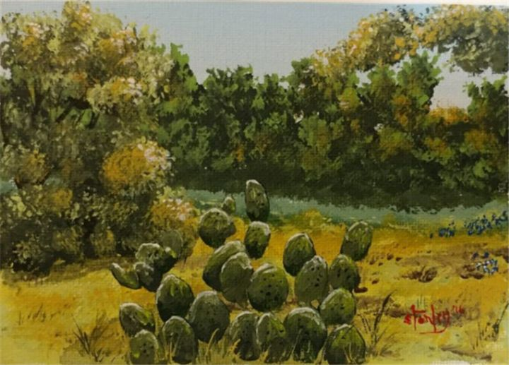 A Texas Meadow - Southwestern Paintings by David