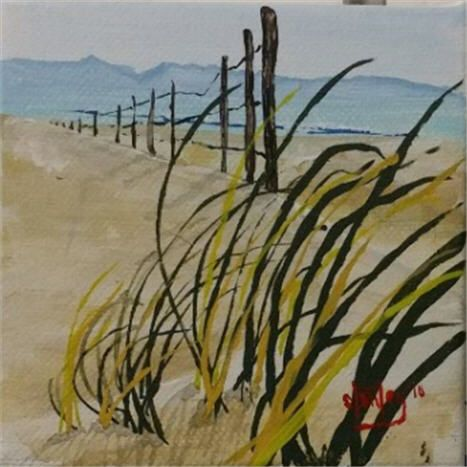 Windy Monterey Beach - Southwestern Paintings by David