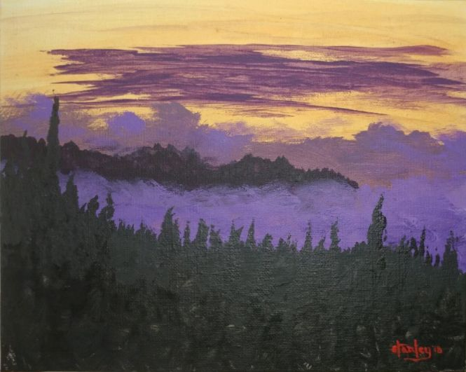 Palomar dusk westward - Southwestern Paintings by David