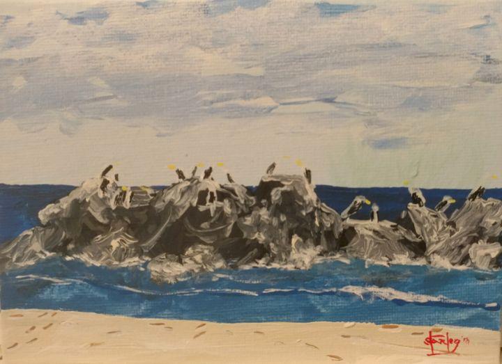 Bird Rock off New Jersey Coast - Southwestern Paintings by David