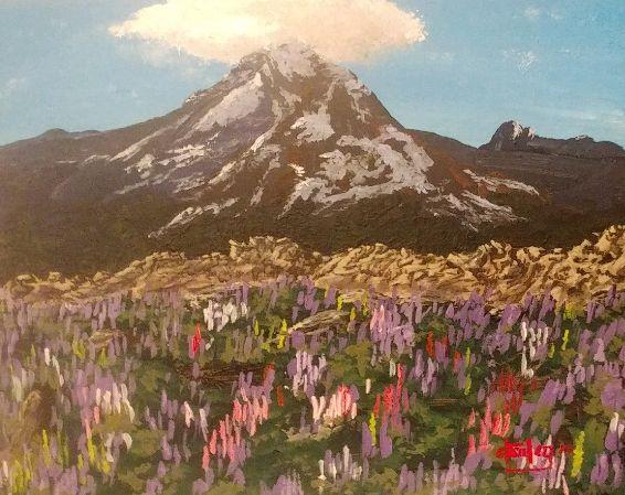 Mt. Rainier in Spring - Southwestern Paintings by David