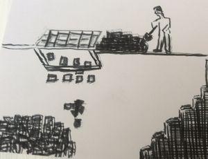 Shovelling coal.