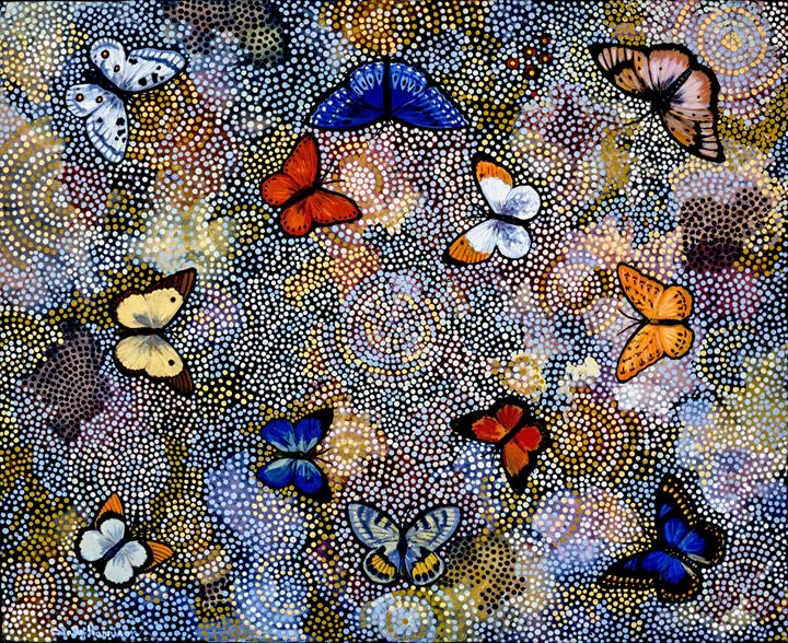 BUTTERFLIES ARE FREE II - Sally Harrison's Dot Paintings