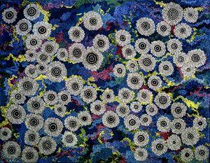 BLACK OPAL DREAMING (YIN & YANG) - Sally Harrison's Dot Paintings