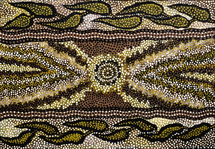 """MA-MIN"" MIRROR OF KALI-MA/GRENDEL - Sally Harrison's Dot Paintings"