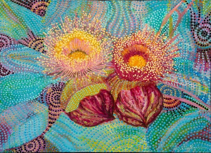 MOTTLECAH GUM BLOSSOMS - Sally Harrison's Dot Paintings