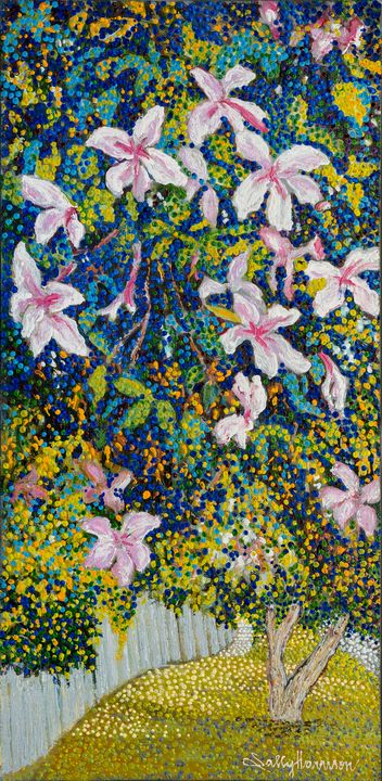 CASCADING HIBISCUS, BOOVAL - Sally Harrison's Dot Paintings