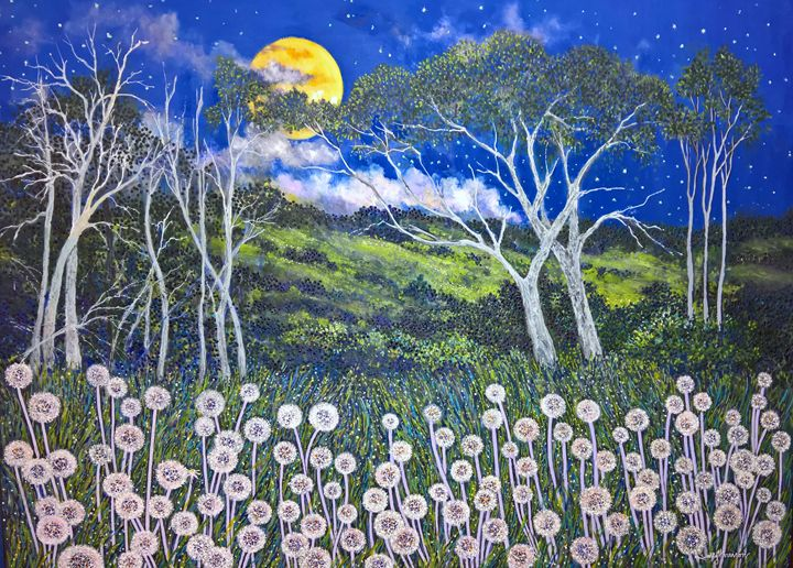 MOONLIGHT OVER SOMERSET SHIRE - Sally Harrison's Dot Paintings