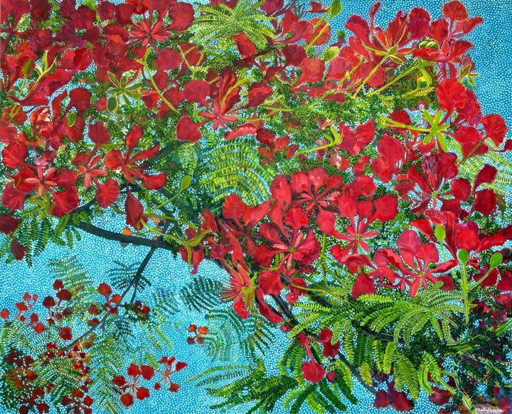 LOCAL MP JENNY'S POINCIANA DREAMING - Sally Harrison's Dot Paintings
