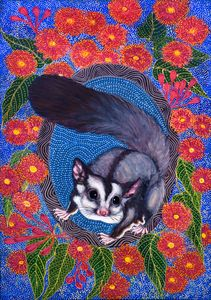 SPUNKY, THE SUGAR GLIDER - Sally Harrison's Dot Paintings