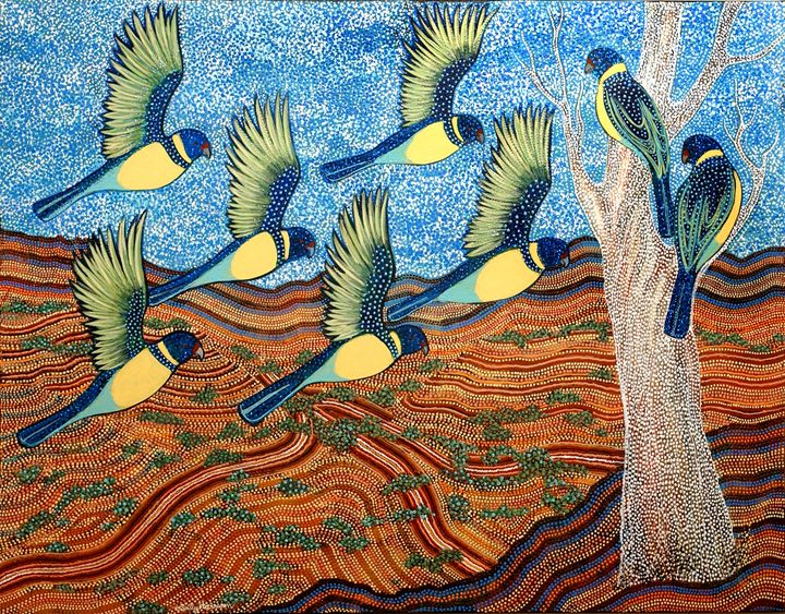 RING-NECKED PARROTS - Sally Harrison's Dot Paintings