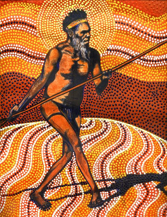 MAN OF SUMER, UR & BAAL (MOBY DICK) - Sally Harrison's Dot Paintings