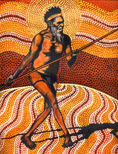 MY MARTU GUIDE CAST INTO THE DESERT - Sally Harrison's Dot Paintings
