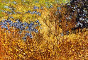 "KANJI (SKY-GOD) & ""BUSH-FIRE"" WATTLE - Sally Harrison's Dot Paintings"