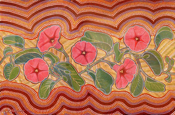 BUSH MEDICINE - BEACH MORNING GLORY - Sally Harrison's Dot Paintings
