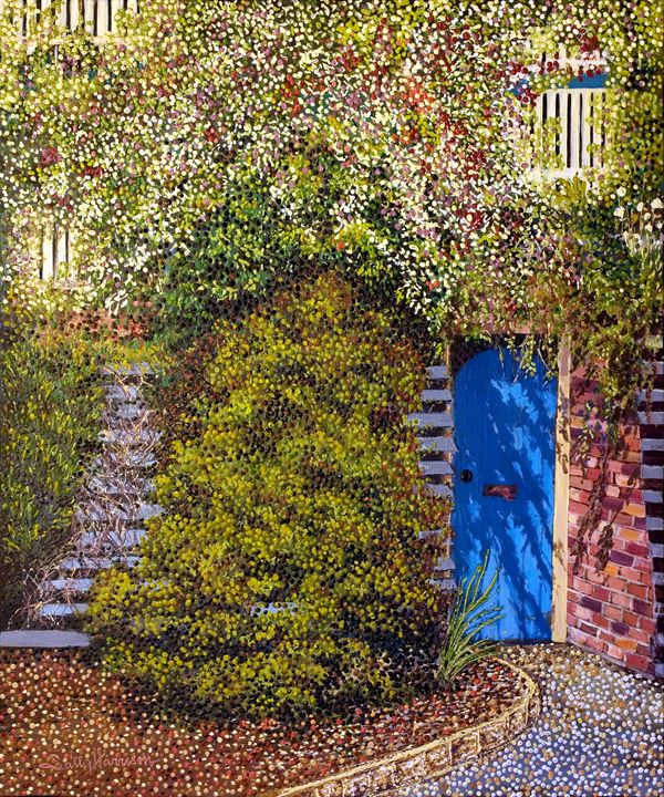 THE BLUE DOOR & SYMBOLISM - Sally Harrison's Dot Paintings