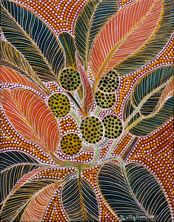 FIG TREES & CAPE YORK BROAD SWORDS - Sally Harrison's Dot Paintings
