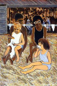 PICNIC AT HUSKISSON - Sally Harrison's Dot Paintings