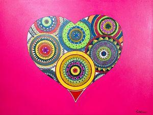 Mandala Heart Painting On Canvas