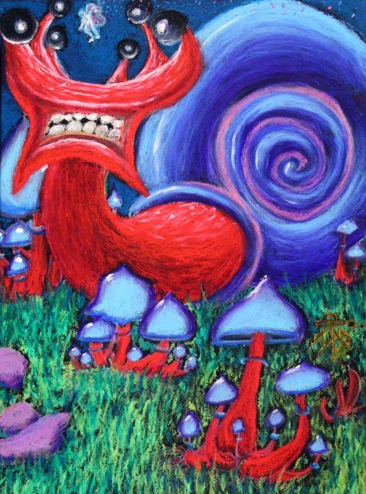 Snails on mushrooms - Israel Boring Art
