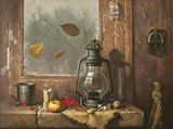 The still life with lamp