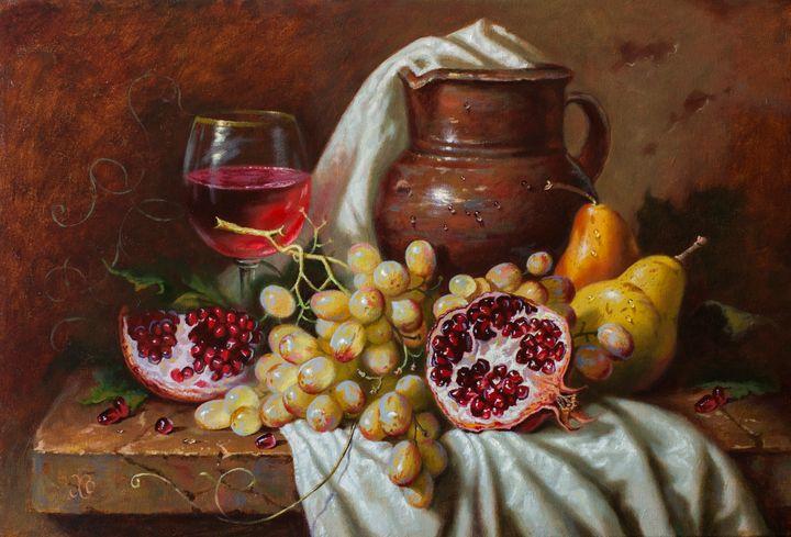 Grapes and pomegranate - Oleg Khoroshilov