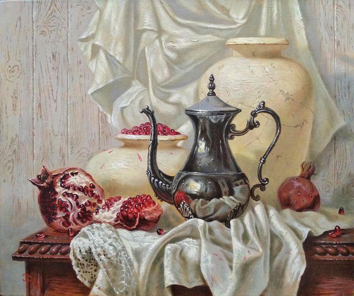 Still-life with silver teapot - Oleg Khoroshilov