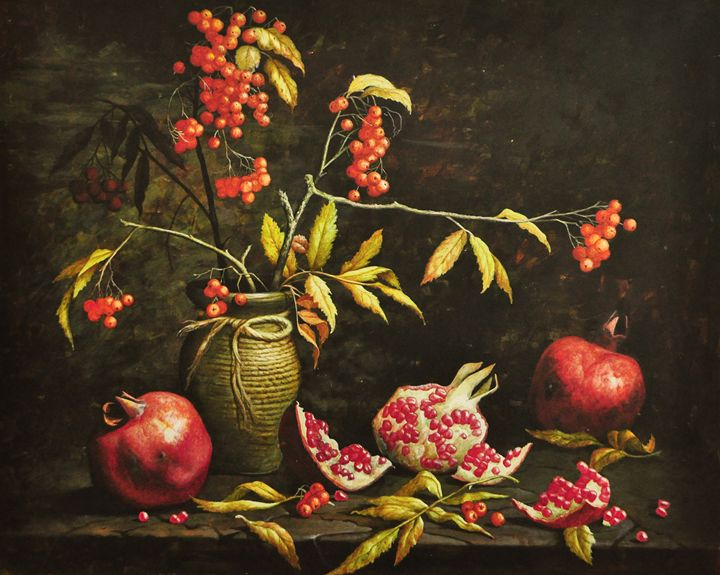 Still life with pomegranates - Oleg Khoroshilov
