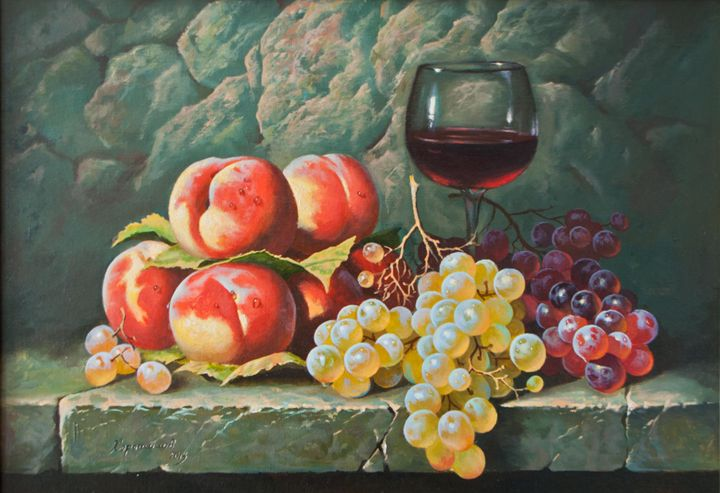 The Still Life with Peaches - Oleg Khoroshilov