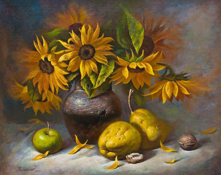 Sunflowers and apple quinces - Oleg Khoroshilov