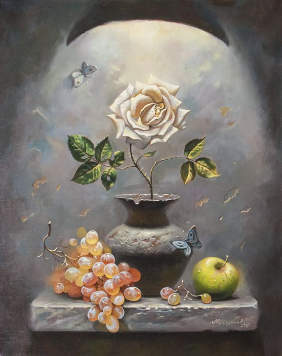 The still life with white rose - Oleg Khoroshilov