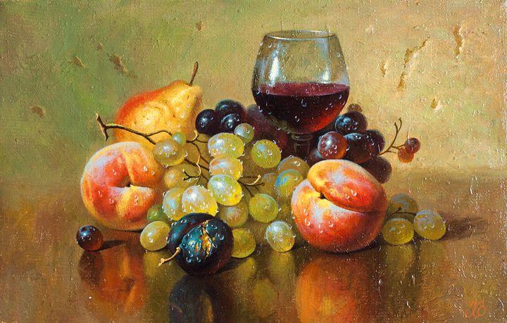 Grapes and peaches - Oleg Khoroshilov
