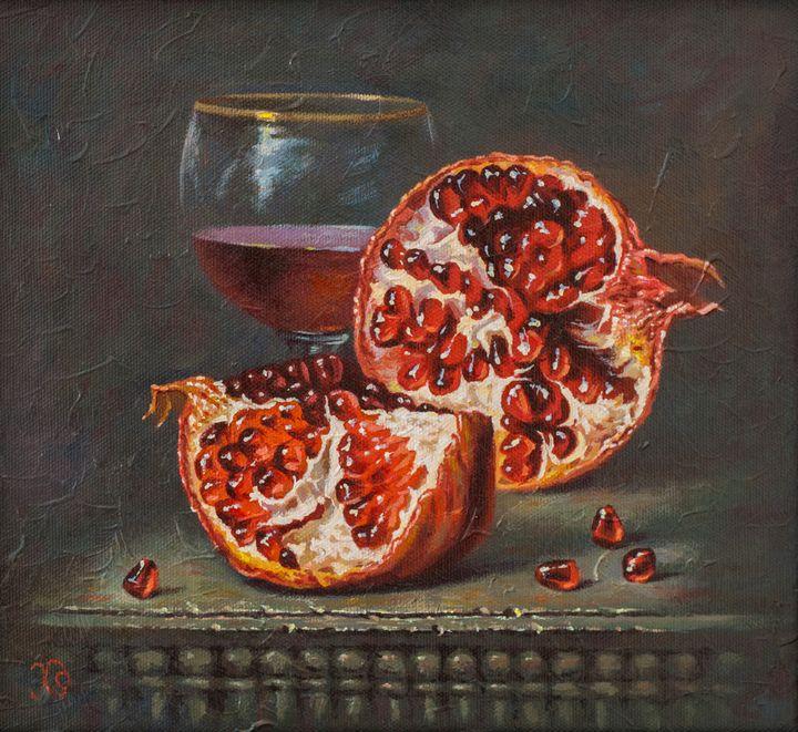 Pomegranate and glass - Oleg Khoroshilov