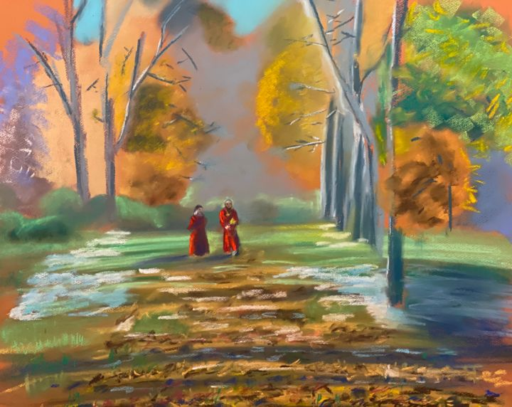 Monks, soft pastel, 60x85 - Pavel Kuzmin
