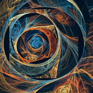 Multicolored spiraling mosaic