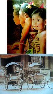 2 Lukisan ( 3 Bocah Tenganan+Becak )