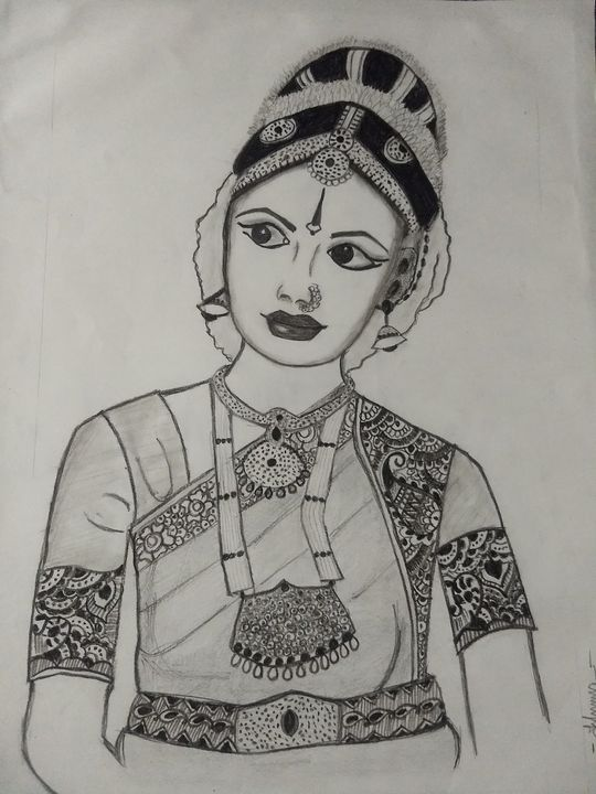 Classical dancer potrait - Sketches by ishu