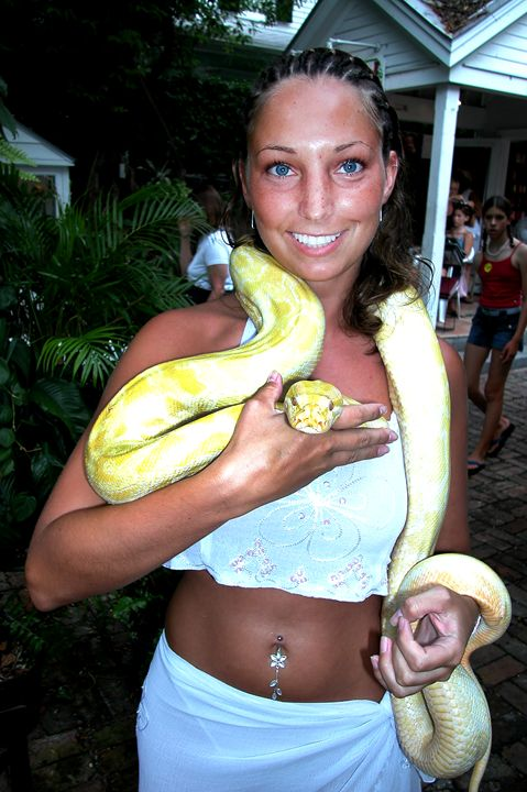 Woman with White Snake - Carl Purcell - Global Photography