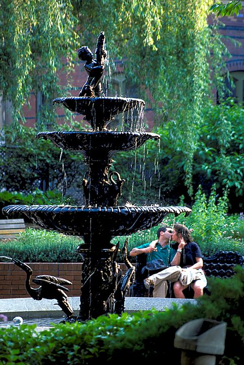 A Couple Kiss by the Fountain - Carl Purcell - Global Photography