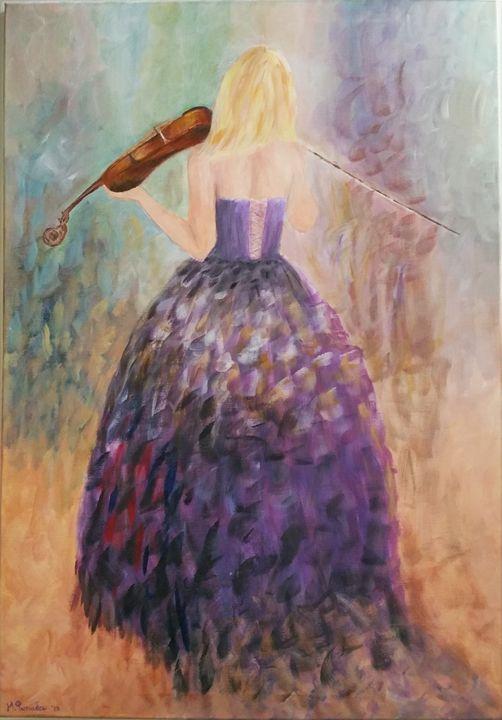 Playing the Violin - AcrylicArtByMaria