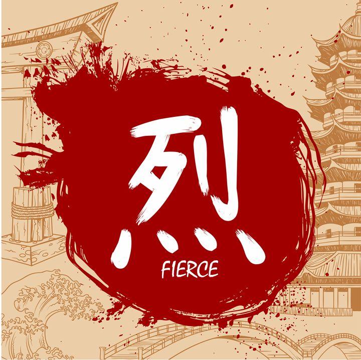 Hand Drawn Japanese Kanji - Fierce - tillhunter
