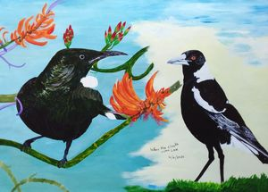 Tui and magpie