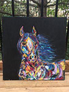 Mixed media abstract horse