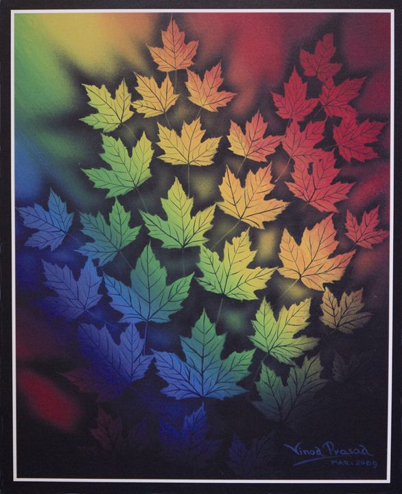Colored Maple leaves - Vinod Prasad