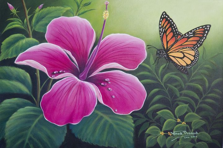 Butterfly and Hibiscus - Vinod Prasad