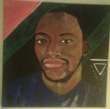 Portrait of man on canvas