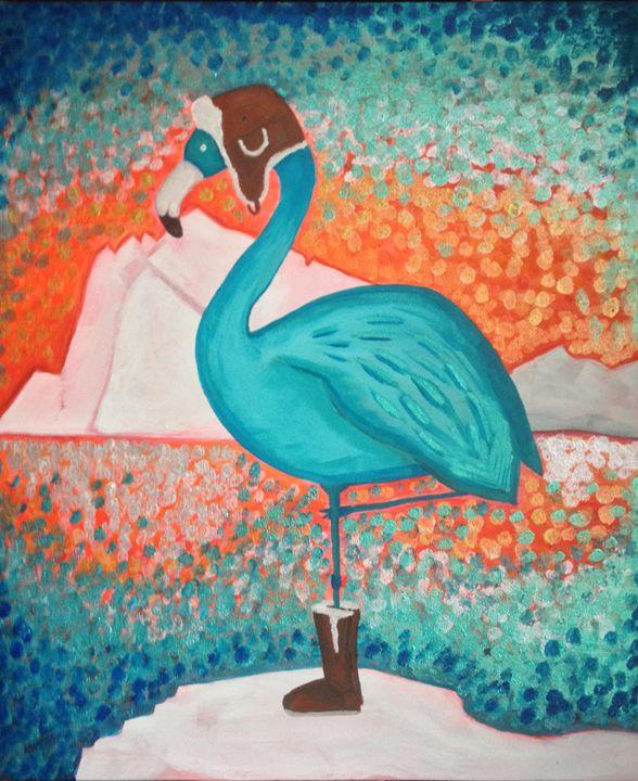 blue flamingo - Loula Le Mevel