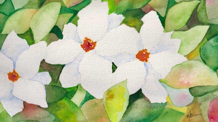 Three white flowers - Diane Messer Gallery